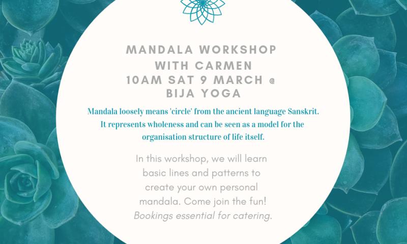 Mandala Workshop flyer for 9 March 2019