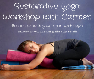 Restorative Yoga workshop Carmen Ceniza